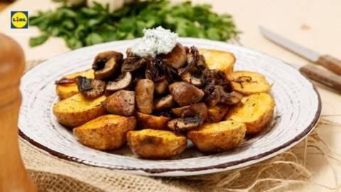 Cartofi aurii cu ciuperci