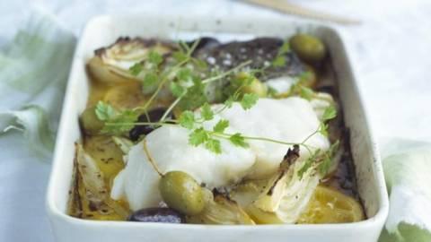 Cod la cuptor cu fenicul si legume