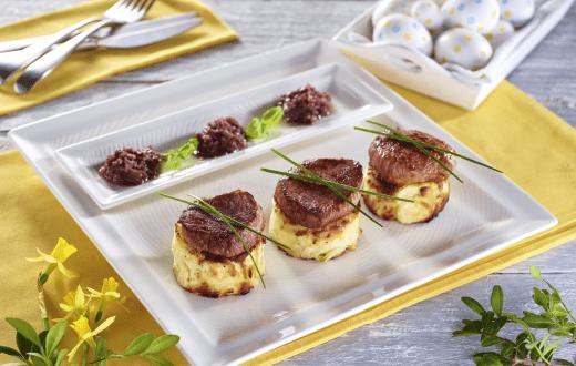 Steak de strut Bercy cu cartofi gratinati