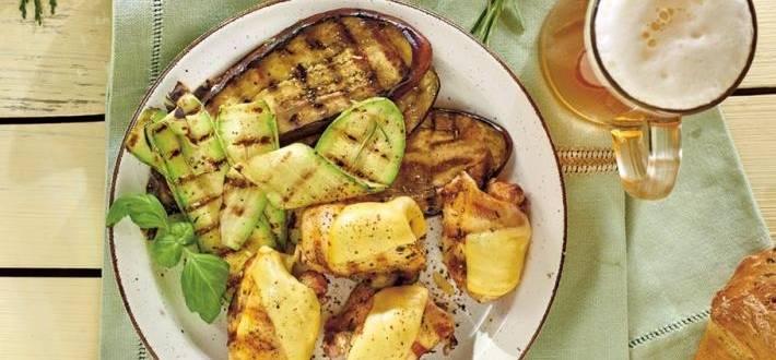 Pulpe de pui cu cascaval si legume aromate