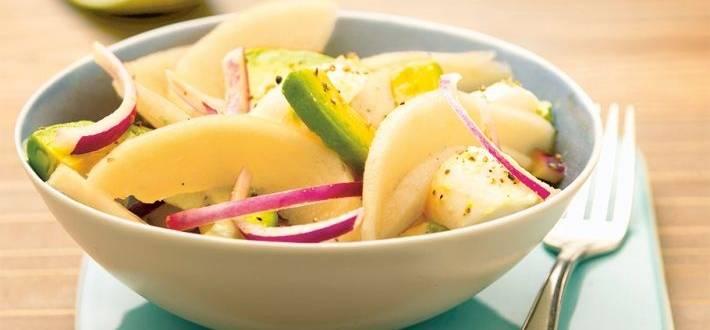 Salata de pepene galben cu avocado si mozzarella