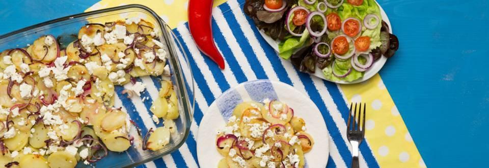 Cartofi in stil grecesc cu feta si lamaie