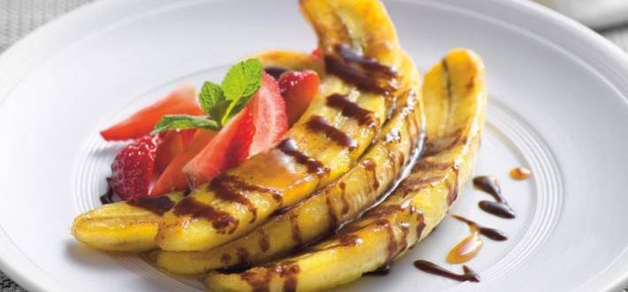 Banane prajite cu sos de espresso si nuga