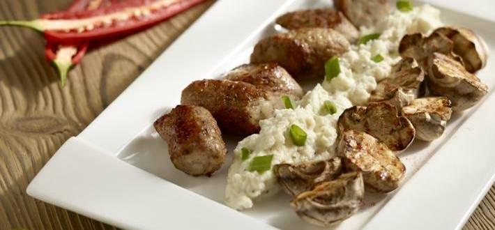 Carnat de porc cu piure de telina si ciuperci brune la gratar